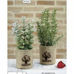 Juego de 2 plantas aromaticas artificiales en maceta saco