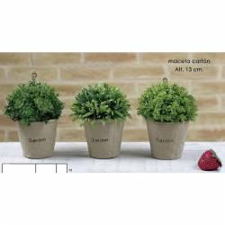 Pequeñas plantas aromaticas artificiales en maceta carton conjunto de 3