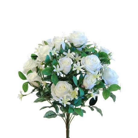 Ramo flores artificiales rosas y capullos
