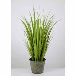 Planta hierbas artificiales juncos en maceta metal 080