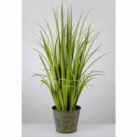 Planta hierbas artificiales juncos en maceta metal 090