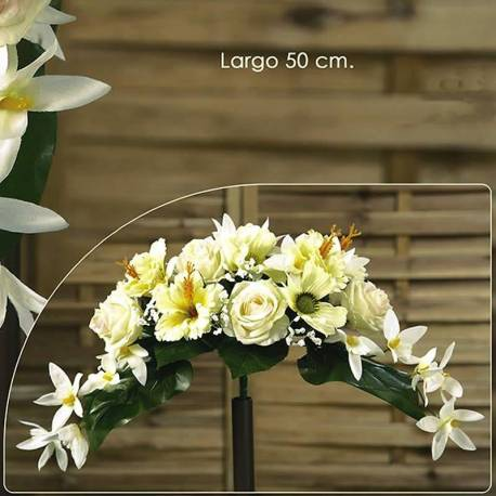 Ramo horizontal pequeño flores artificiales cementerio hibiscus