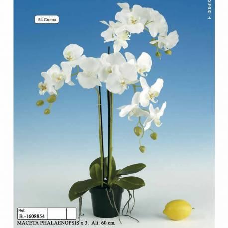 Maceta con 3 phalaenopsis artificiales