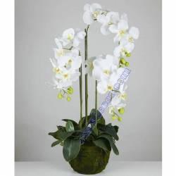 Orquideas artificiales phalaenopsis con maceta 080