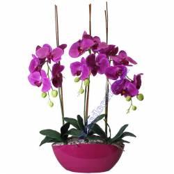 Centro flores artificiales orquideas ciclamen