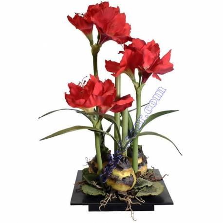 Centro flores artificiales amarilis rojos