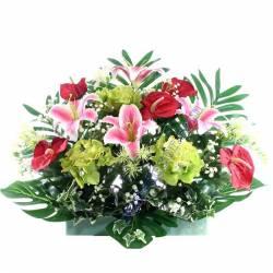 Jardinera flors artificials cementeri lilium