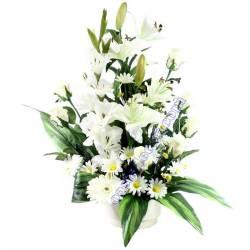 Centro flores artificiales cementerio gladiolos y lilium