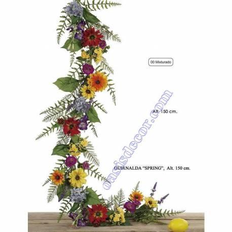 Guirnalda primaveral de flores artificiales
