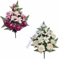 Ramo flores artificiales cementerio rosas y lilium
