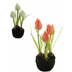 Pequeño cepellon flores tulipanes artificiales con bulbo
