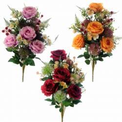 Ramo flores artificiales cementerio rosas