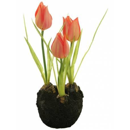 Pequeño cepellon flores tulipanes artificiales con bulbo