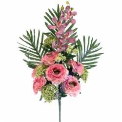 Ramo flores artificiales cementerio ranunculos y orquideas