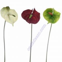 Flor artificial anthurium engomada