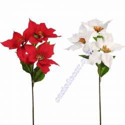 Flor de pascua artificial poinsettia con tres flores