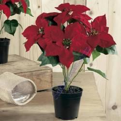 Planta flor de pascua artificial con maceta