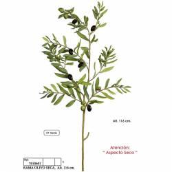 Rama olivo artificial con aceitunas de aspecto seco 116