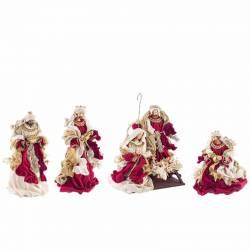 Nacimiento de Navidad con Reyes Magos burdeos