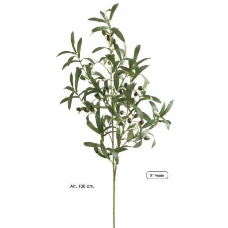 Rama olivo artificial con aceitunas de plastico 100