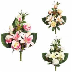 Ramo flores artificiales cementerio con rosas y lilium