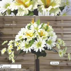 Ramo horizontal pequeño flores artificiales cementerio margaritas