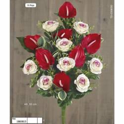 Ramo flores artificiales cementerio rosas y anthurium