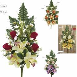 Pequeño ramo flores artificiales cementerio rosas cymbidium