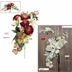 Ramo horizontal flores artificiales cementerio peonias y lilium