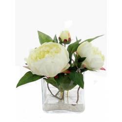 Centro cuadrado cristal flores peonias artificiales agua solida