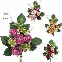 Pequeño ramo flores artificiales cementerio rosas orquideas