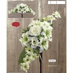 Ramo horizontal flores artificiales cementerio lilium y orquideas