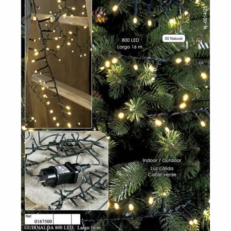 Guirnalda navidad 800 luces led cable verde