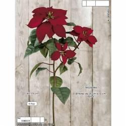 Ponsetia artificial de terciopelo tres flores