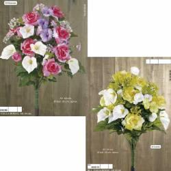 Ramo redondo flores artificiales calas y rosas