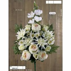 Ramo flores artificiales cementerio peonias y dalias