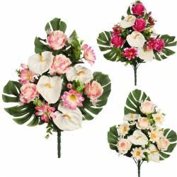 Ramo flores artificiales cementerio con rosas y anthurium