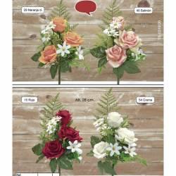 Mini ramo flores artificiales cementerio rosas