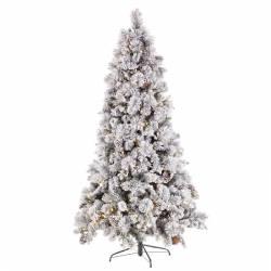 Abeto artificial de navidad nevado con luces led 180