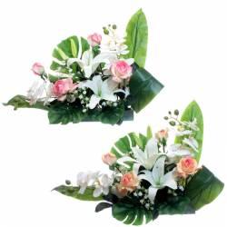 Jardinera flores artificiales cementerio orquideas y rosas