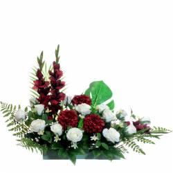 Jardinera flores artificiales cementerio gladiolos y zinnias