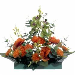 Jardinera flores artificiales cementerio peonias naranja