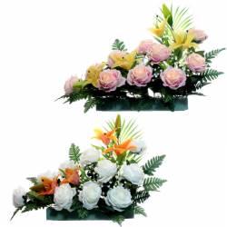 Jardinera flores artificiales cementerio rosas y lily