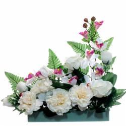 Jardinera flores artificiales cementerio orquidias y peonias
