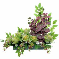 Jardinera flores artificiales cementerio orquideas verdes