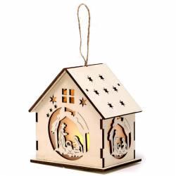 Xicoteta casa fusta naixement Nadal LED