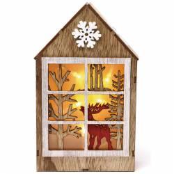 Casita Navidad de madera ciervo con luz