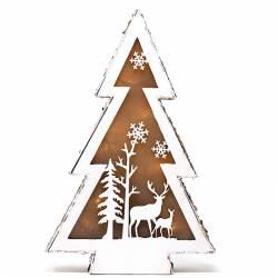 Arbol de madera navidad ciervos con luz