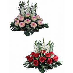 Jardinera flores artificiales rosas cementerio