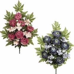 Ramo flores artificiales cementerio ranunculos y hortensias